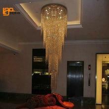 חדש עיצוב ארוך מודרני נברשת קריסטל LED אור 5 שכבות יוקרה מלון לובי נברשות