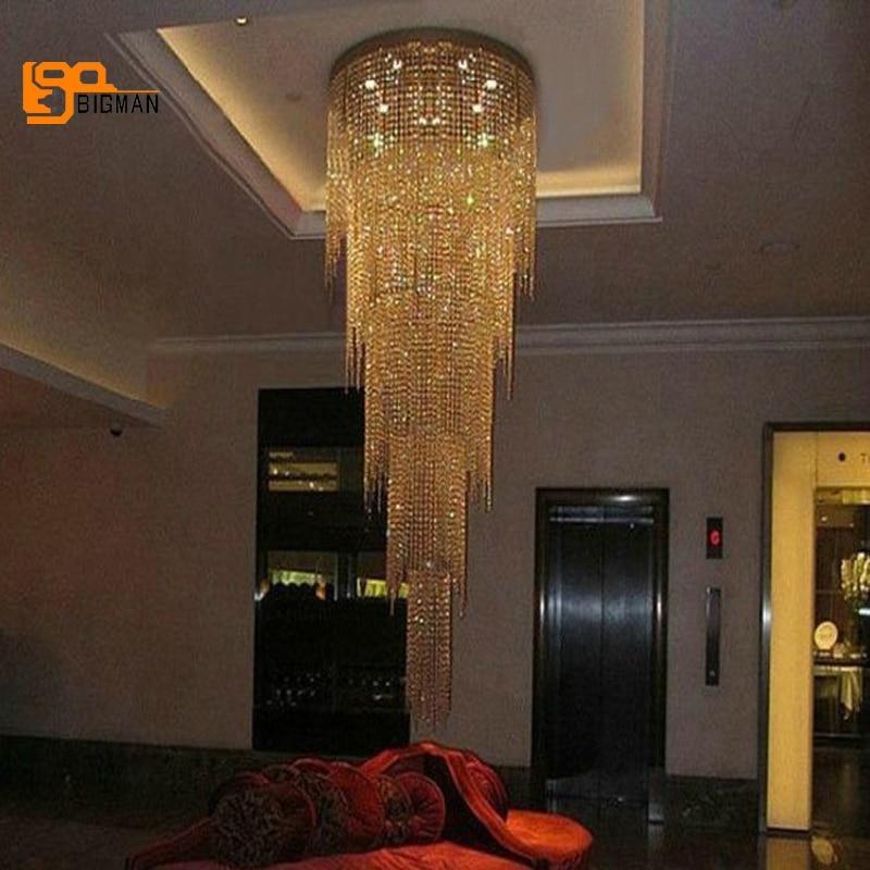 Nouveau design longue moderne lustre en cristal LED lumière 5 couches de luxe hôtel lobby lustres