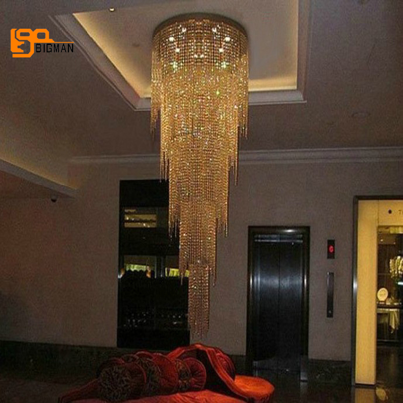 Nuovo disegno lungo moderno lampadario di cristallo HA CONDOTTO LA luce di 5 strati di lusso hotel lobby lampadari