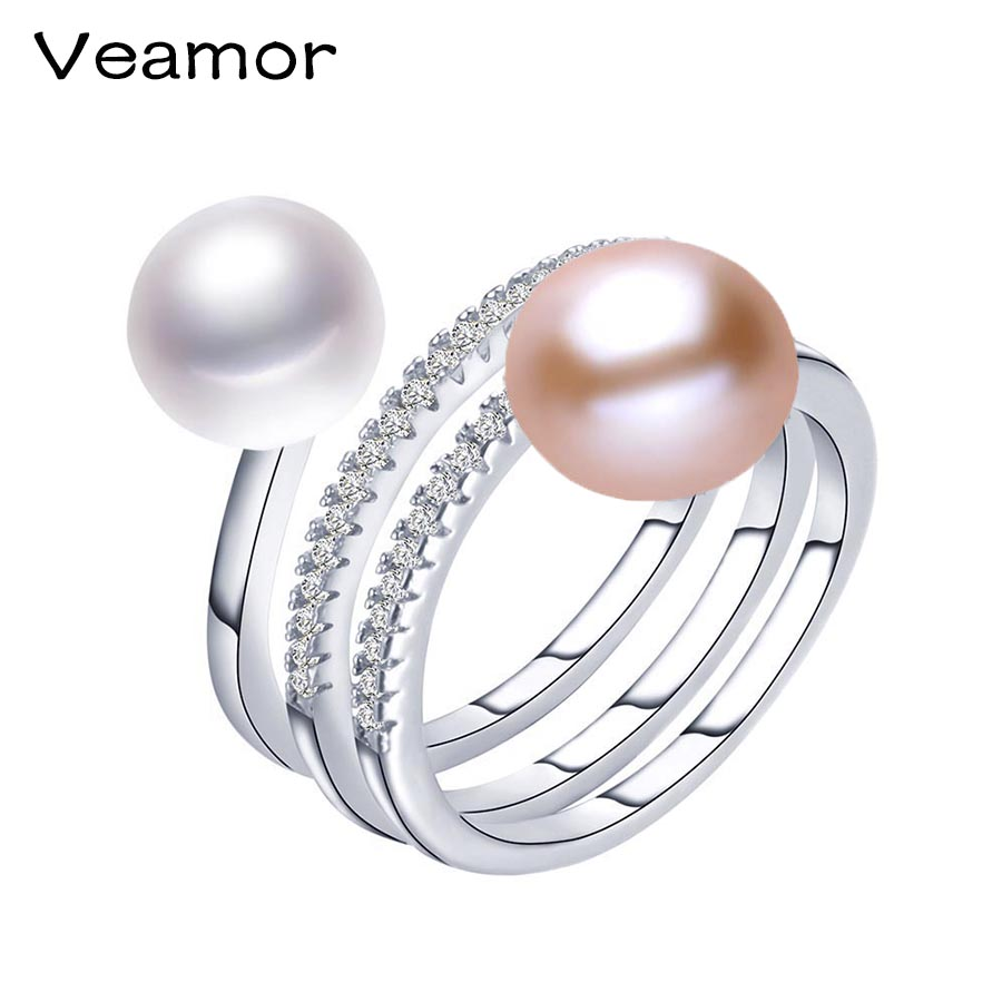 VEAMOR 100% Genuine Freshwater Pearl Ring 6 Types Creative Ring for Women 925 Silver Pearl jewelry Decorative Gifts With Box tipi tent kinderkamer