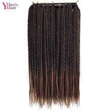 YXCHERISHAIR, 22 дюйма, в коробке, плетеные волосы для наращивания, Омбре, длинная синтетическая коробка, коса, вязанные крючком волосы, вплетаемые, черные, коричневые, двухцветные волосы