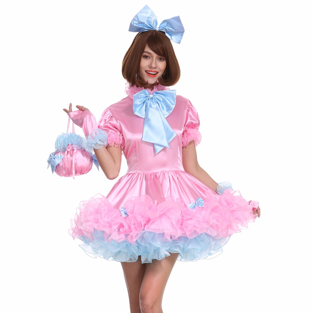 sissy girl lockable maid bow pink dress stain puffy crossdress