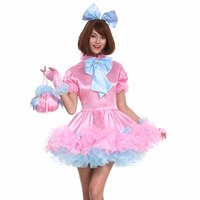 Sissy Girl Lockable Maid Bow Pink Dress Stain Puffy Crossdress Uniform