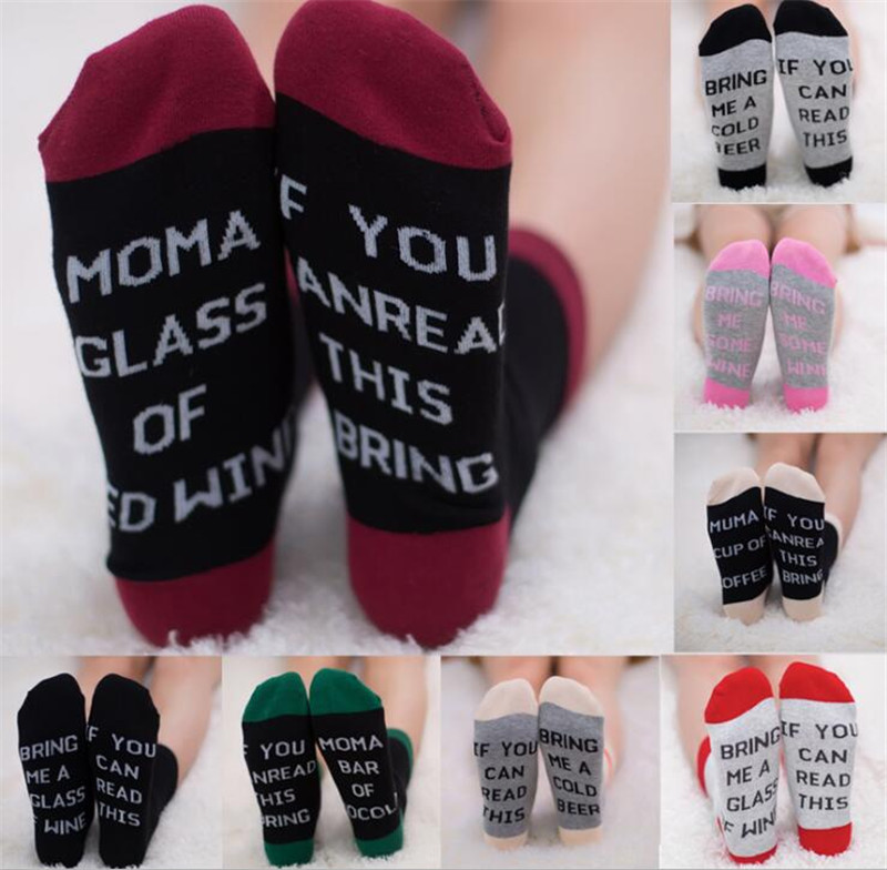 5Pair/lot 2017 Fashion Women Man If You can read this Bring Me a Glass of Wine Socks for Xmas Gift 15 Style One Size