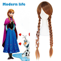 31 inch Synthetic wig braiding hair Long Brown Frozen Anna cosplay heat resistance fiber for women free shipping top quality