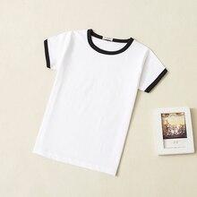 Детские летние футболки из-го хлопка с круглым вырезом и коротким рукавом унисекс для мальчиков и девочек детская футболка с прессованным воротником