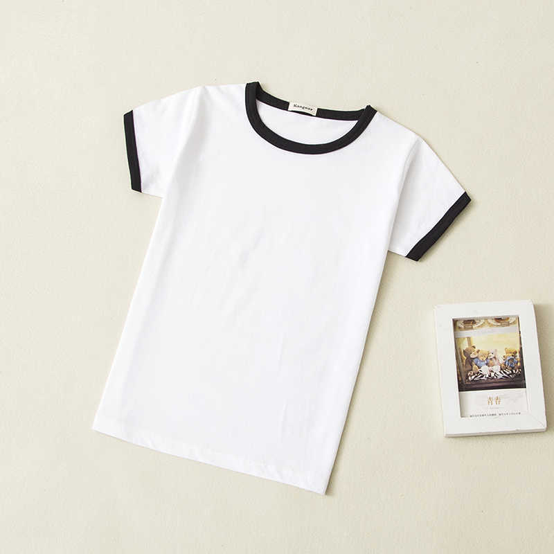 Summer children t-shirts 100% cotton o-neck baby boys girls short-sleeve T-shirt child kids heat press blank top basic shirt