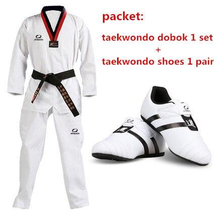 Child adult taekwondo shoes + taekwondo dobok one set men women mooto WTF Tae kwon do uniforms