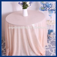 SQN022A Hot sale New fancy wedding 108'' round peach sequin table cloth