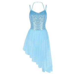 Image 2 - Lady kobiety sukienka baletowa paski Spaghetti Halter cekiny nieregularne Tulle taniec baletowy gimnastyka sukienka trykot trykoty dla kobiet