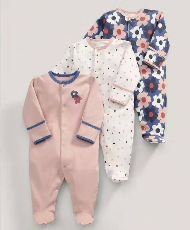 3pcs/lot Baby Boy Girl Clothes Long Sleeve Tree Leaves Flowers Print 2016 Autumn Baby Rompers Newborn Jumpsuits Cotton new 3 in 1 digital tape measure string sonic roller mode laser tool