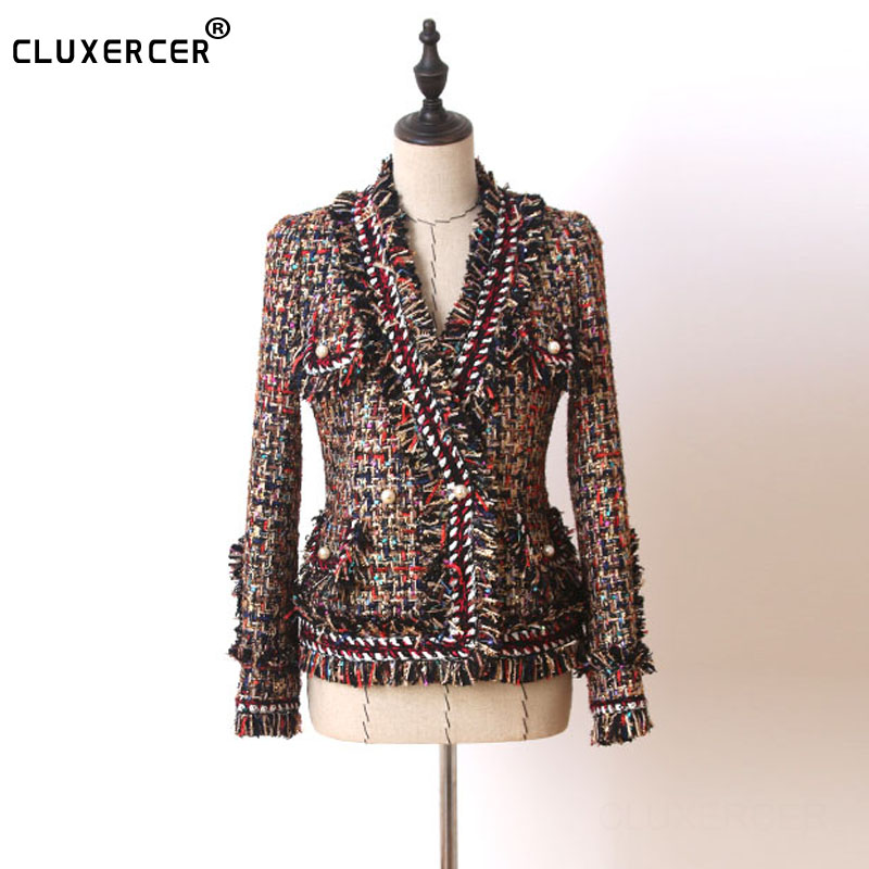 Multicolor Tweed Jacket Pearl buckle Long Metal flash fabric 2019 Fall Winter women s Coat Ladies