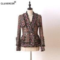 Разноцветная твидовая куртка с жемчужной пряжкой, длинная металлическая флеш ткань 2019, осенне зимнее женское пальто, женская куртка, пальто