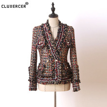 Tweed jacket coat 2017 spring/autumn womens woolen cashmere long-sleeve slim tassel pearl button elegant runway