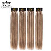 VL Ombre 4 Bundles Brown/Blonde Hair Weave 100% Remy Hair Extensions European Straight Human Hair With Free Shipping P6/613(China)