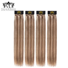 VL Ombre 4 Bundles Brown/Blonde Hair Weave 100% Remy Hair Extensions European Straight Human Hair With Free Shipping P6/613