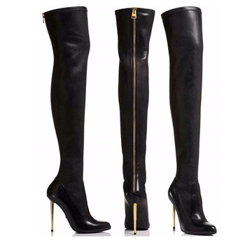 New Fashion Womens Autumn Overknee Boots Winter Thigh High Boots Woman Sexy Ladies Black Metal High Heels Long Boots Women 2019