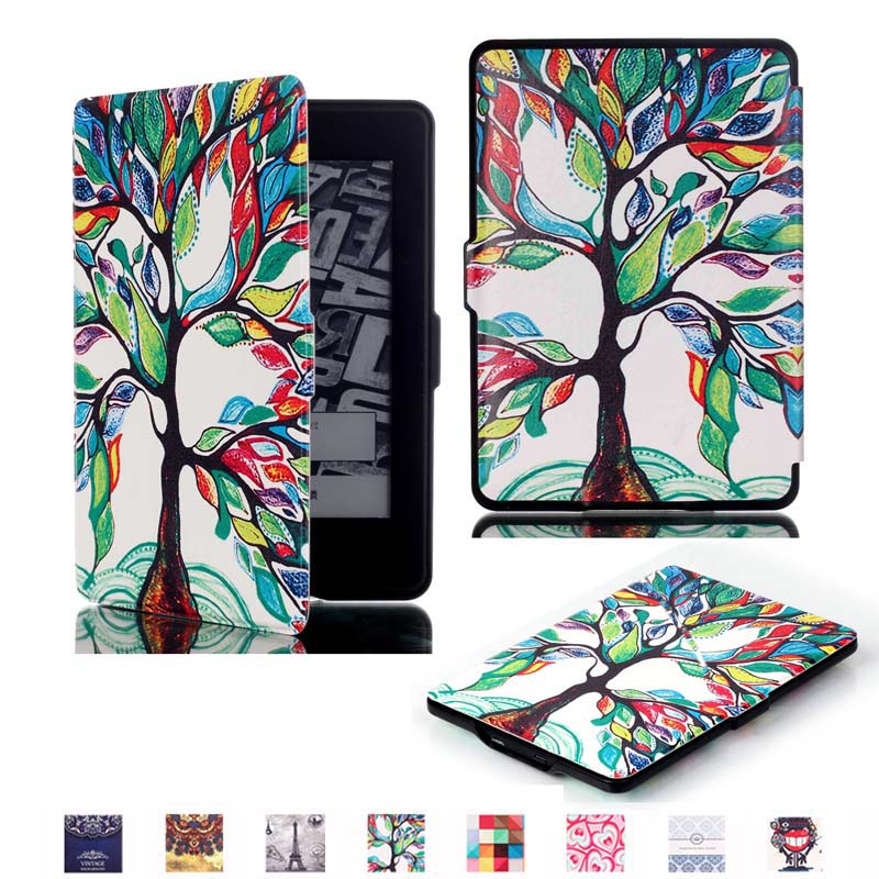 Ultra Thin Slim Magnet Smart Auto Sleep/Wake Print PU Leather Cover Case for Amazon Kindle Paperwhite 1 2 / Paperwhite 3 2015 high quality cross pattern ultra slim folio leather case flip wake up sleep smart cover for amazon kindle paperwhite 1 2 3 6