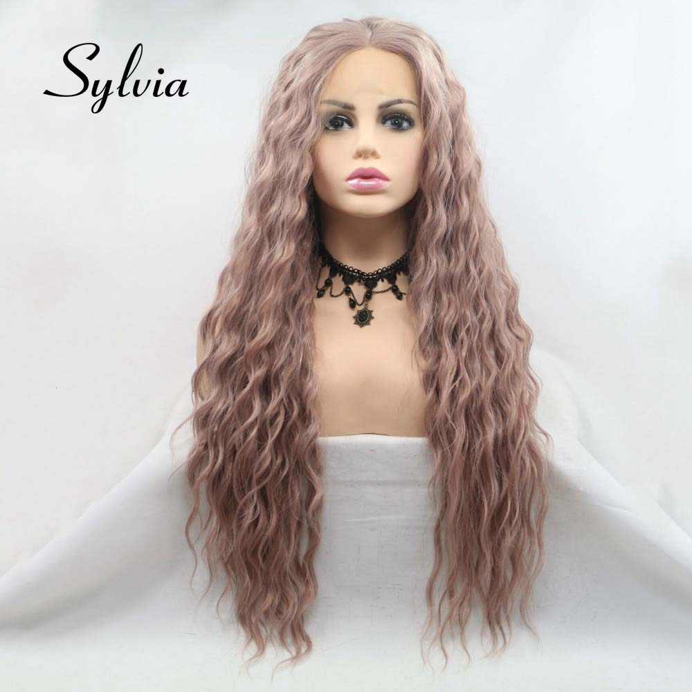 Sylvia Long Loose Wave Hair Light Purple Wig Synthetic Lace Front Wigs For Women Hair Heat Resistant Fiber Long Hair Wigs