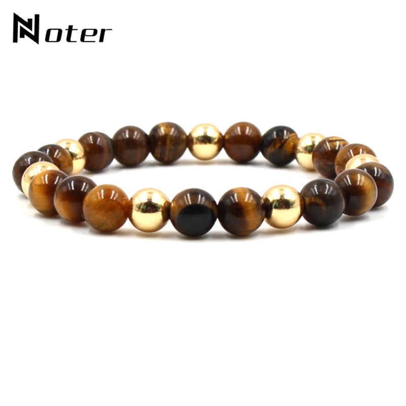 Noter Natural Stone Beads Buddha Bracelet Charms Tiger Eyes Strand Braslet For Yoga Meditation Hand Jewelry Accessories Pulsera