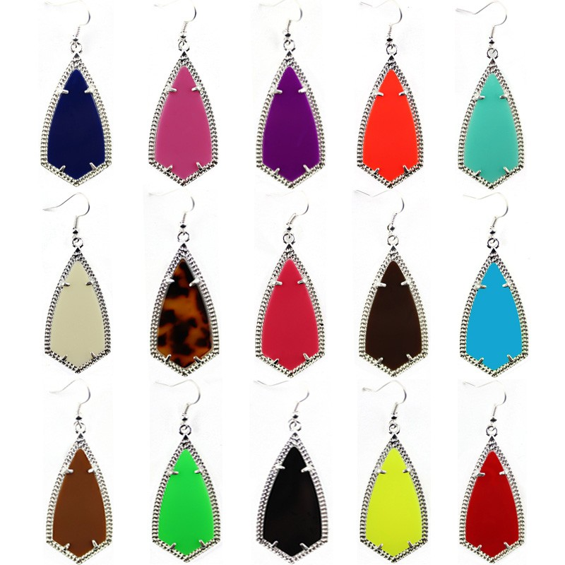 Designer Inspired Jewelry Kite Necklace and Earring Set in 10 Colors in Silver
