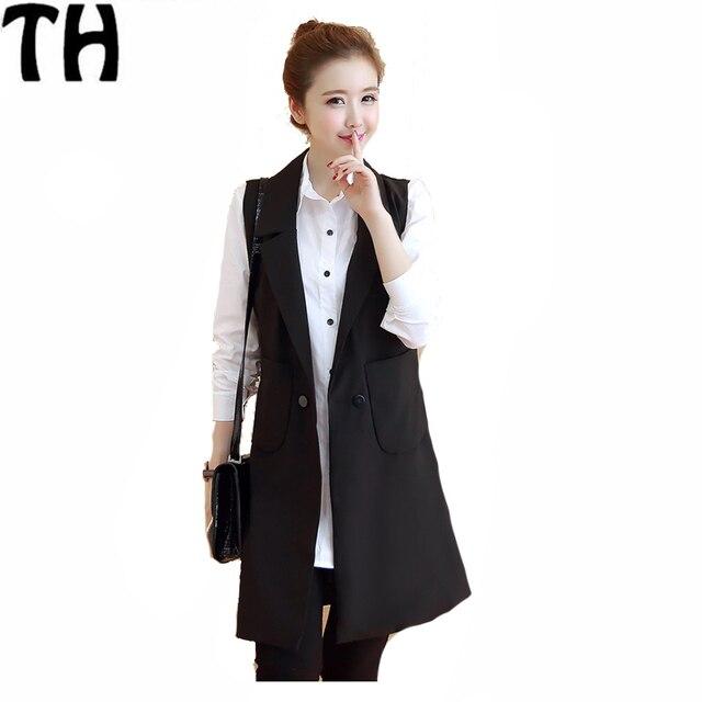 Women Waistcoat New Hot Winter Autumn Long Women Vests Plus Size Sleeveless Vest Femininas Cotton Suit jacket MJ011