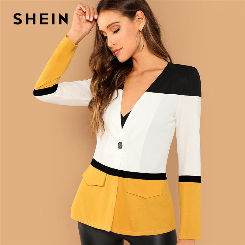 Shein Multicolor Office Lady Colorblock Cut And Sew Single Button Blazer Autumn Elegant Workwear Women Coat Outerwear