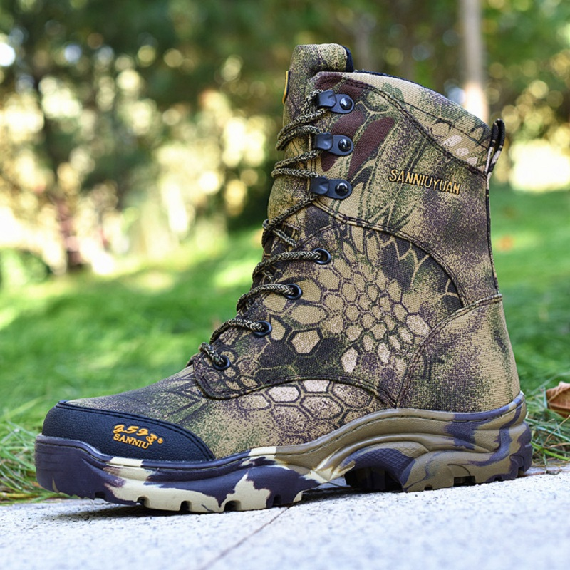 Men Hunting Boots Bionic Camouflage High Waist Fishing Shoes Outdoor Hiking Camping Boots Spring and Autumn Waterproof Non Slip outdoor hunting shoes for men waterproof winter sneakers men increased internal non slip hunting camping shoes hiking boots