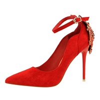 Hot 2018 Women Pumps Sexy Red Green High Heels Shoes Sexy Pointed Toe Wedding Rhinestone Shoes