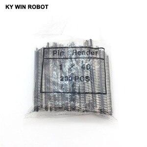 Image 1 - 200 pcs 40 Pin 1x40 Single Row 90 grau 2mm Ângulo Cabeçalho Pin Conector Banhado A cobre faixa de flexão