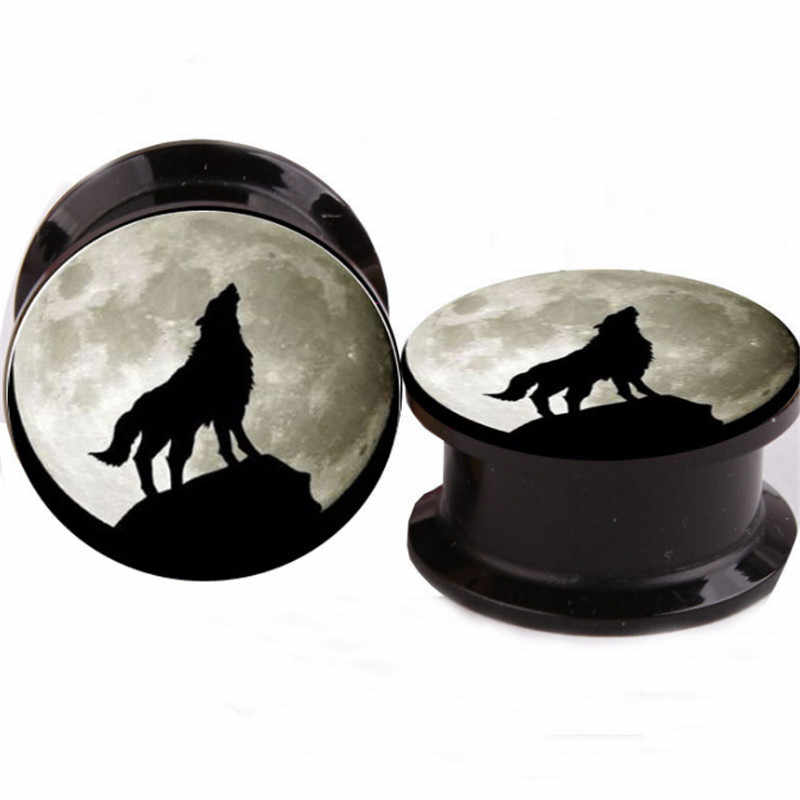 Sexy Punk Cute Animal  Wolf Ear Gauges Plugs Tunnels Screw Fit Expansion Ear Stretched Piercing Tunnels Fashion Body Jewelry