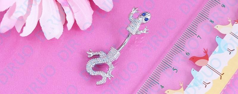 HTB1tmeUIpXXXXb2XpXXq6xXFXXXu Crystal Jeweled Lizard Style Silver-Tone Navel Ring - 6 Styles