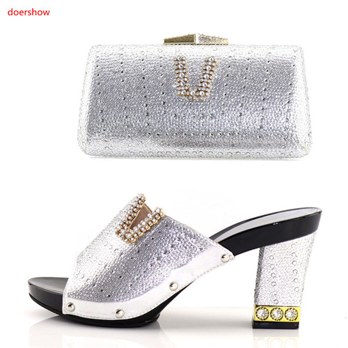 doershow Italian Design Shoes And Bag To Matching African Shoes And Bag Set For Party Nigerian Women Fashion Shoes BB-8