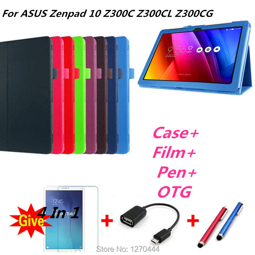 Litchi skin Leather stand smart case for Zenpad 10 Z300 Ultra Slim cover for ASUS Zenpad