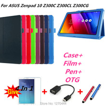 Zenpad 10 inch Litchi skin Leather stand case cover capa para for ASUS Zenpad 10 Z300C Z300CL Z300CG Tablet PC +OTG+Pen+Film цена