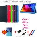 Zenpad 10 Litchi soporte De Cuero elegante de la piel cubierta de la caja capa para asus zenpad 10 z300c z300cl z300cg tablet pc + OTG + Pen + Película