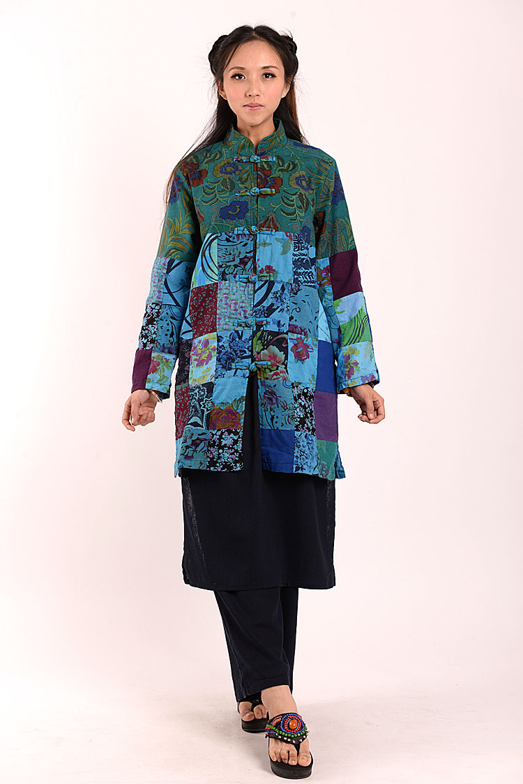 Women Jacket Chinese Traditional Clothes 2017 Coat Long Sleeve Patchwork National Wind Patchwork Windbreaker Jacket