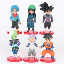 6pcs/sets of Dragon Ball Character Model Toys Pink Red Goku Future Trunks Zamas Fit