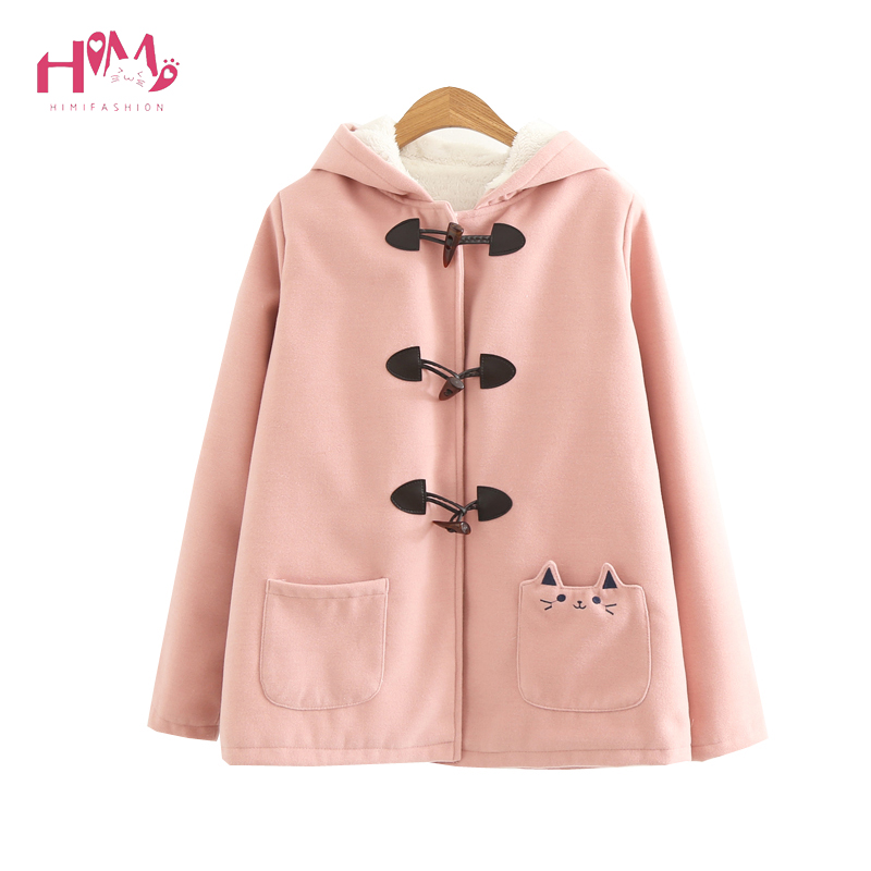 Autumn Winter New Women Pink Kawaii Jacket Japanese style Cotton Thick Long Sleeve Hooded Casual Cute