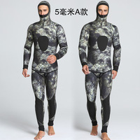 2016 new winter camouflage 5mm two piece men's swimming and diving waterproof warm clothing wholesale