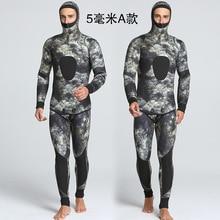 2016 nouveau hiver de camouflage 5mm deux pièces hommes de natation et plongée étanche chaud vêtements en gros