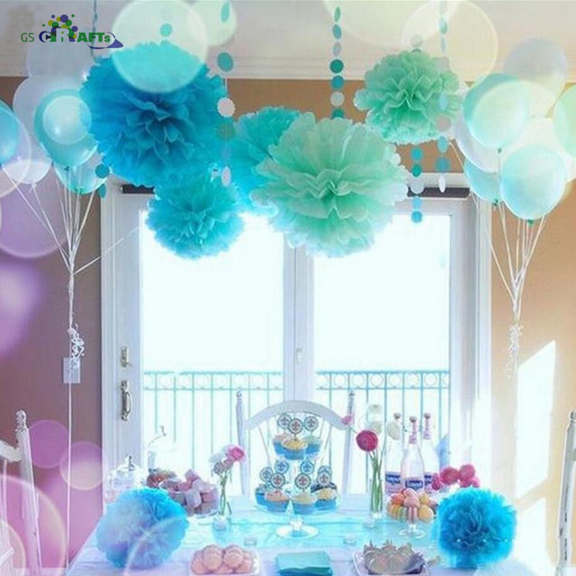 15pcs 4 6 8 10cm 15cm 20cm Tissue Paper Pom Poms Colorful Flower
