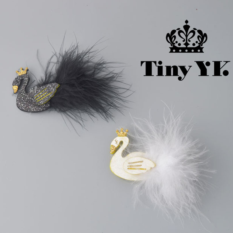 Glitter White/Black Swan Hair Clips with Gold Crown Barrette with feather Princess Hairpins Baby Children Kids Hair Accessories 1 pcs lovely cartoon swan temperament baby hairpins kids hair clips princess barrette children headwear girls hair accessories