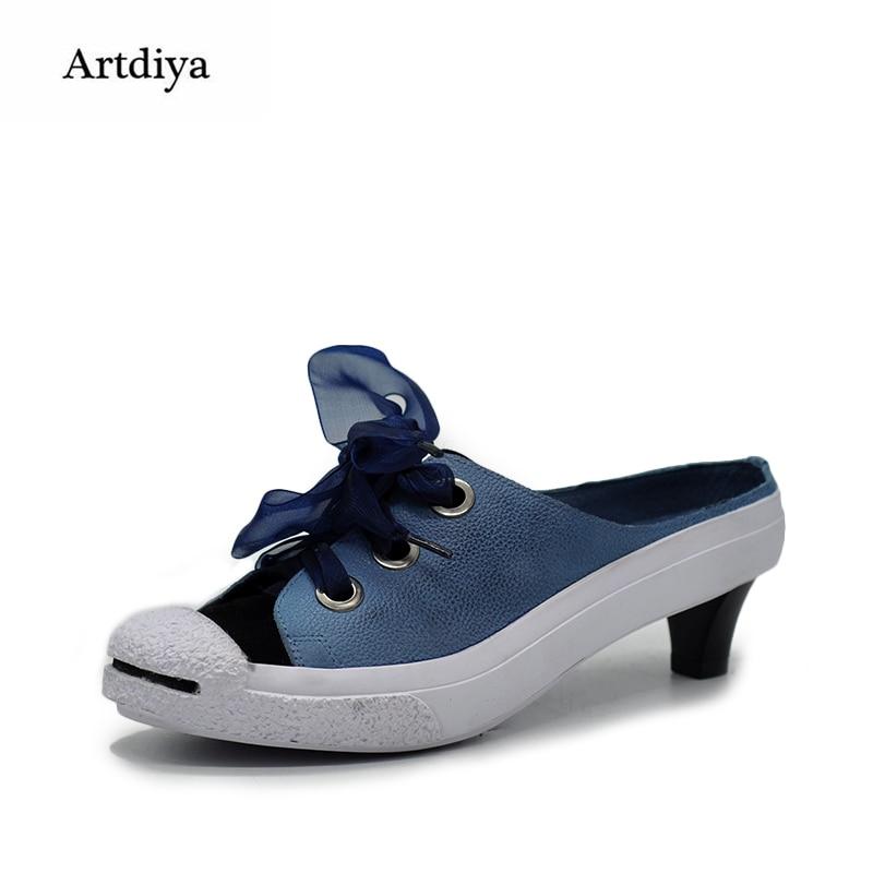 Artdiya Original 2018 New Casual Slippers Ribbon Genuine Leather Handmade Women Sandals Blue 1847-5L