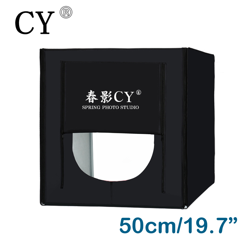 CY New 50*50cm LED Photo Studio Softbox Shooting Light Tent Soft Box Portable Bag AC Adapter for Jewelry Toys Shoting