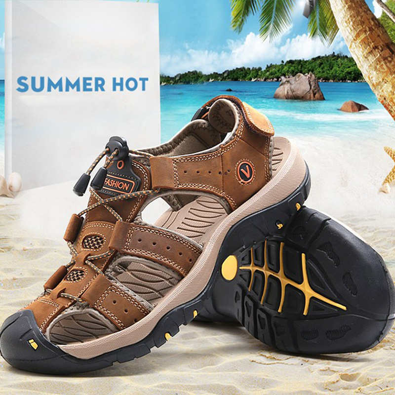 LEMAI 2018 Fashion Quality Genuine Leather Men Sandals Mesh Soft Fisherman Summer Casual Shoes Men Beach Shoes Size 38-47