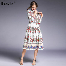 Banulin 2019 Runway Designer Autumn Dress Womens Long Sleeve Bow Collar Casual Holiday White Floral Print Slim Pleated Dresses