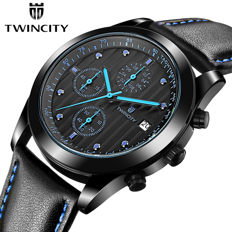 Fashion Brand TWINCITY Date Watches Men Genuine Leather Waterproof Sports Watch Males Military Multifunction Casual Wristwatches