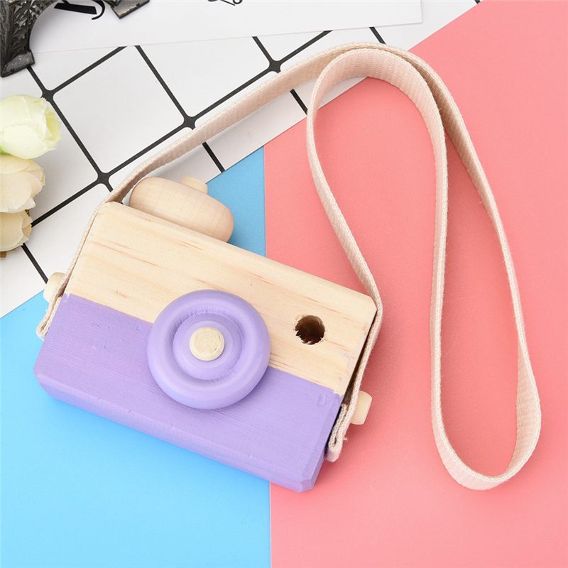 Funny Purple Wooden Toy Camera Kids Creative Neck Hanging Rope Toy Photography Prop Gift Great Fun For Children Drop Shipping