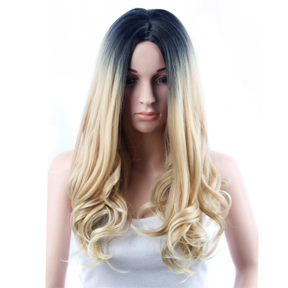 Long Loose Wavy wigs for women Similar to full lace wigs human hair with baby hair blonde wigs synthetic hair 6423A classic femal long black wigs with neat bangs synthetic hair wigs for black women african american straight full wigs false hair